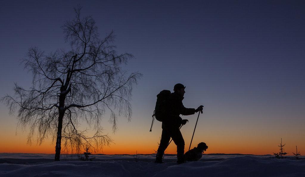 På tur i solnedgang på Vidvangen
